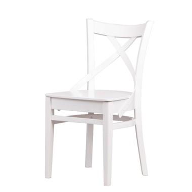 Krzesło z białego drewna o rustykalnej formie.