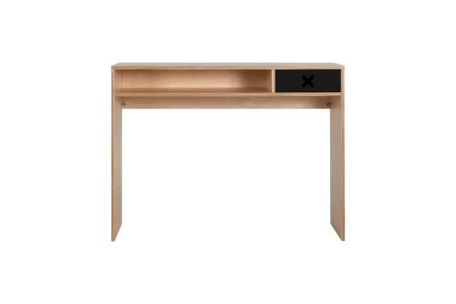 Czarne drewniane designerskie biurko z kolekcji kółko i krzyżyk-idealne do pokoju dziecka, nastolatka czy domowegou biura.