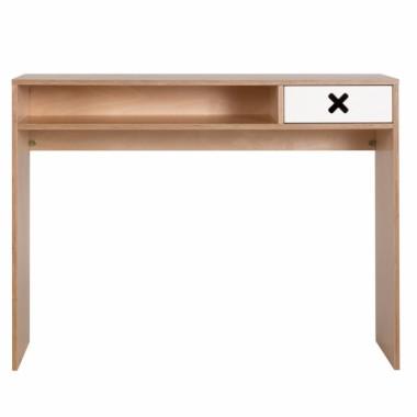Białe drewniane designerskie biurko z kolekcji kółko i krzyżyk-idealne do pokoju dziecka, nastolatka czy domowegou biura.