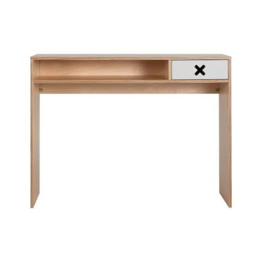 Szare drewniane designerskie biurko z kolekcji kółko i krzyżyk-idealne do pokoju dziecka, nastolatka czy domowegou biura.