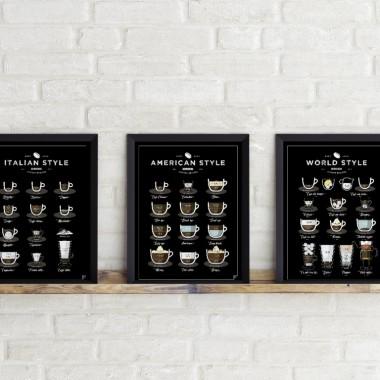 Zestaw 3 plakatów z kawą. Plakaty do kuchni, kawiarni, jadalni.