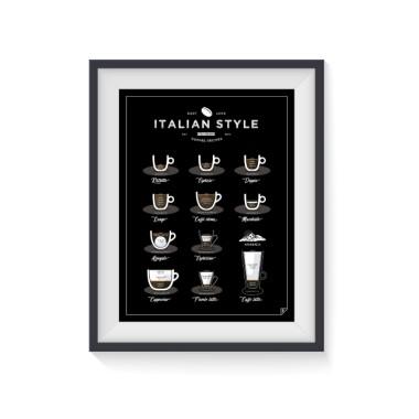 """Plakat """"Italian Style Coffee"""" przedstawia 11 przepisów na świetną amerykańską kawę .Fajny, designerski plakat do kuchni - czarny."""