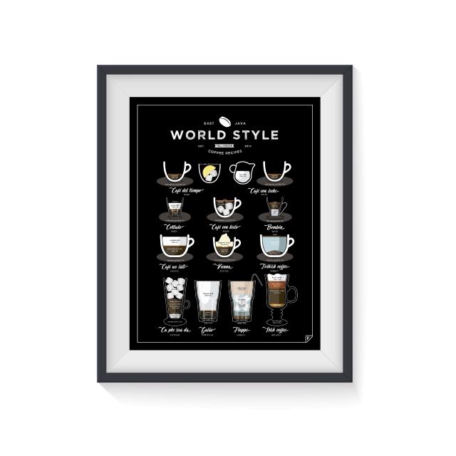 """Plakat """"World Style Coffee"""" przedstawia 12 przepisów na świetną amerykańską kawę"""