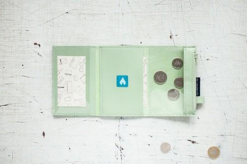 MINI / Pale Green - portfel ze skóry