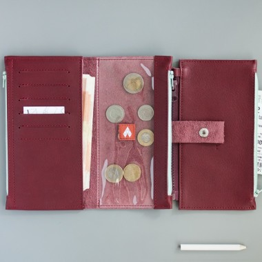Portfel - Pocket MAXI / Plum - bordowy portfel ze skóry