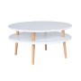 Kolorowy, okrągły, niski stolik kawowy, idealny również do pokoju dziecka. Biały.