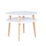Biały stolik kawowy średniej wielkości z okrągłym blatem