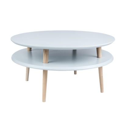 jasno szary okrągły stolik kawowy ragaba wysokość 35cm, średnica 70cm