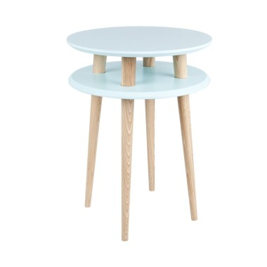 niebieski okrągły stolik kawowy ragaba wysokość 61cm, średnica 45cm