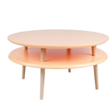 Kolorowy, okrągły, niski stolik kawowy, idealny również do pokoju dziecka. Pomarańczowy