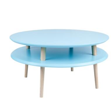 Kolorowy, okrągły, niski stolik kawowy, idealny również do pokoju dziecka. Niebieski/turkusowy