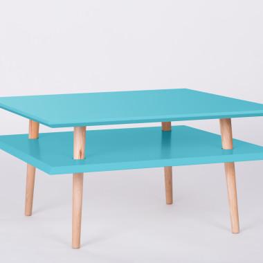 Nowoczesny, kwadratowy stolik kawowy/ ława do salonu lub pokoju dziecka. ciemny turkus