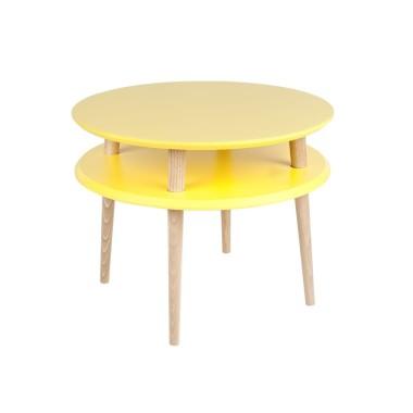 zółty okrągły stolik kawowy ragaba wysokość 45cm, średnica 57cm
