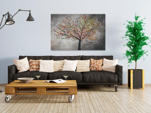 Małe szczęścia - nowoczesny obraz z drzewem-na płótnie do salonu, jadalni, sypialni lub przedpokoju.