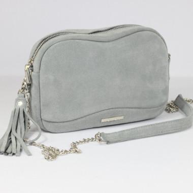 Torebka skórzana Fabulous szary welur-mała torebka na łańcuszku. Prezent dla dziewczyny, siostry, na dzień matki.