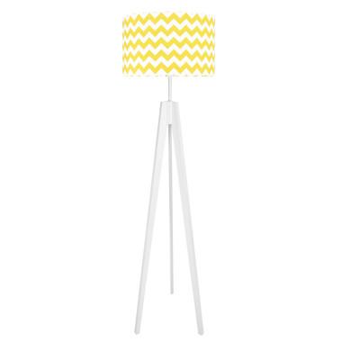 Lampa podłogowa stojąca-trójnóg bialy. youngDeco. Żółty chevron.