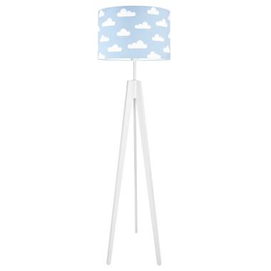 Lampa podłogowa stojąca-trójnóg bialy. youngDeco. Niebieska w białe chmurki.