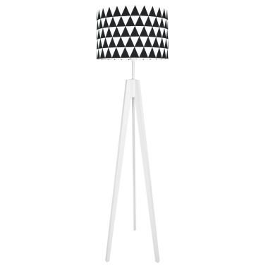 Lampa podłogowa stojąca-trójnóg bialy. youngDeco. Czarne trójkąty.