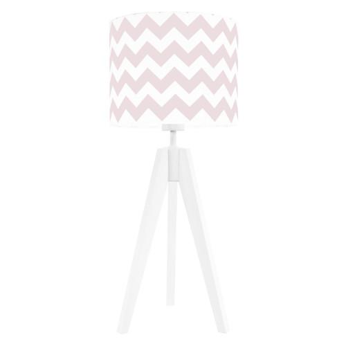Lampa nocna na stolik trójnóg biała z abażurem chevron różowy