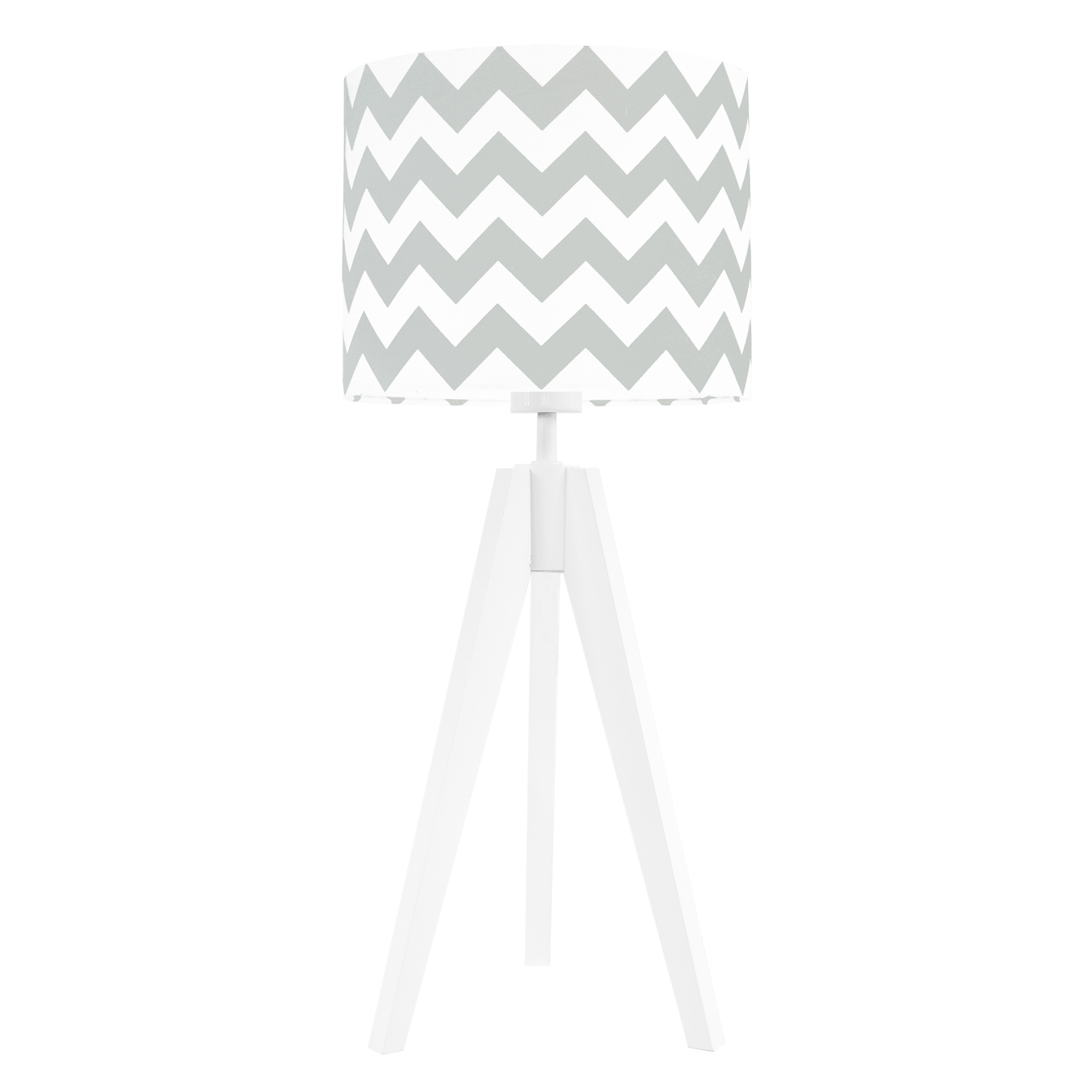 Lampa nocna na stolik trójnóg biała z abażurem chevron jasny szary