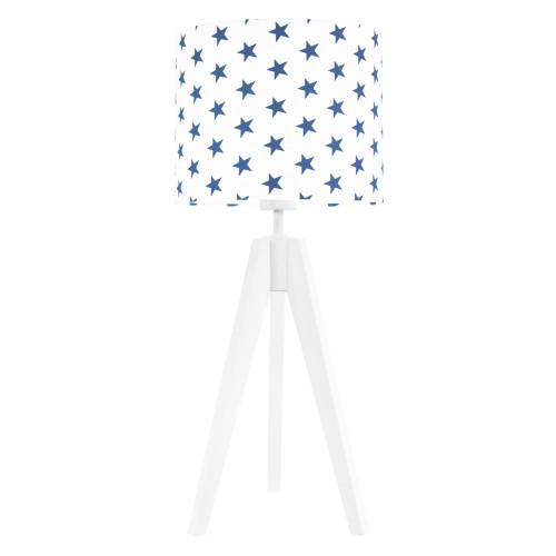 Lampa nocna na stolik trójnóg biała z abażurem gwiazdki granatowe