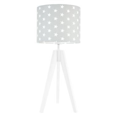 Lampa nocna na stolik trójnóg biała z abażurem gwiazdki na szarym