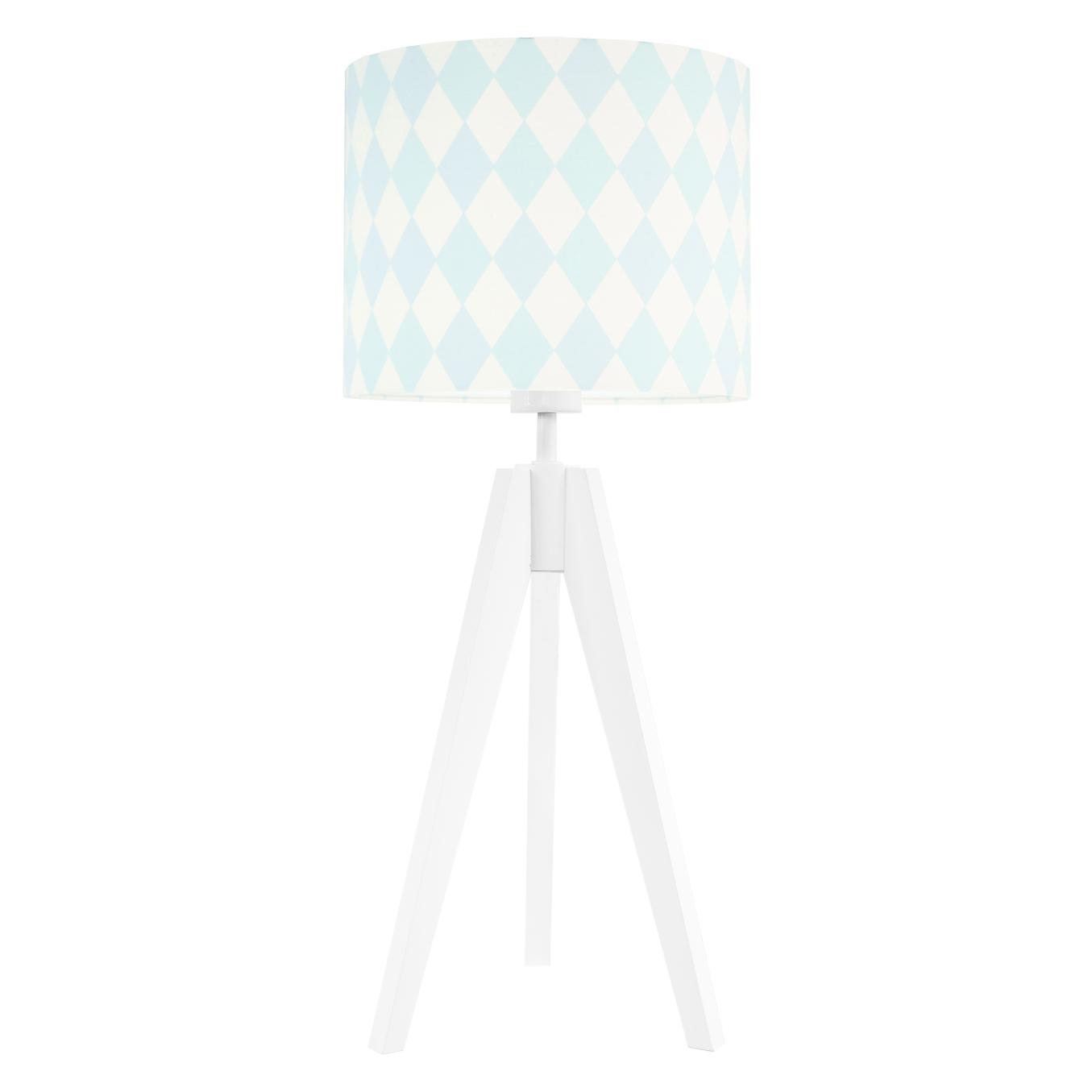 Lampa nocna na stolik trójnóg biała z abażurem romby pastelowe