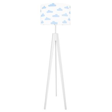 Lampa podłogowa stojąca do pokoju dziecięcego - trójnóg bialy youngDeco. Wzór: Chmurki błękitne.