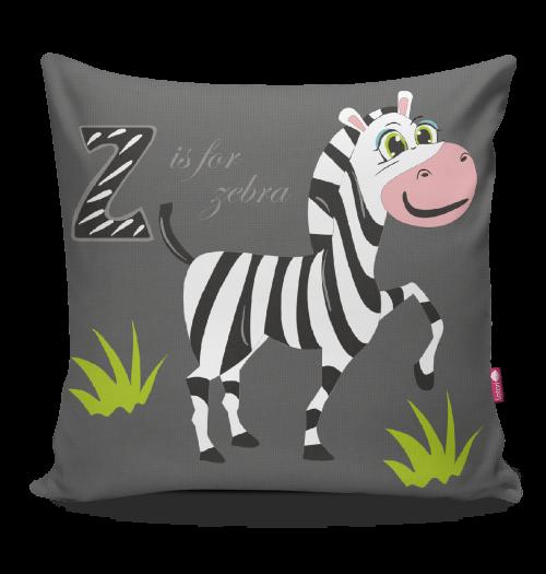 Miękka ozdobna poduszka do pokoju dziecka z kolorowym nadrukiem Safari Zebra