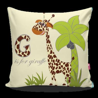Miękka ozdobna poduszka do pokoju dziecka z kolorowym nadrukiem Safari Żyrafa