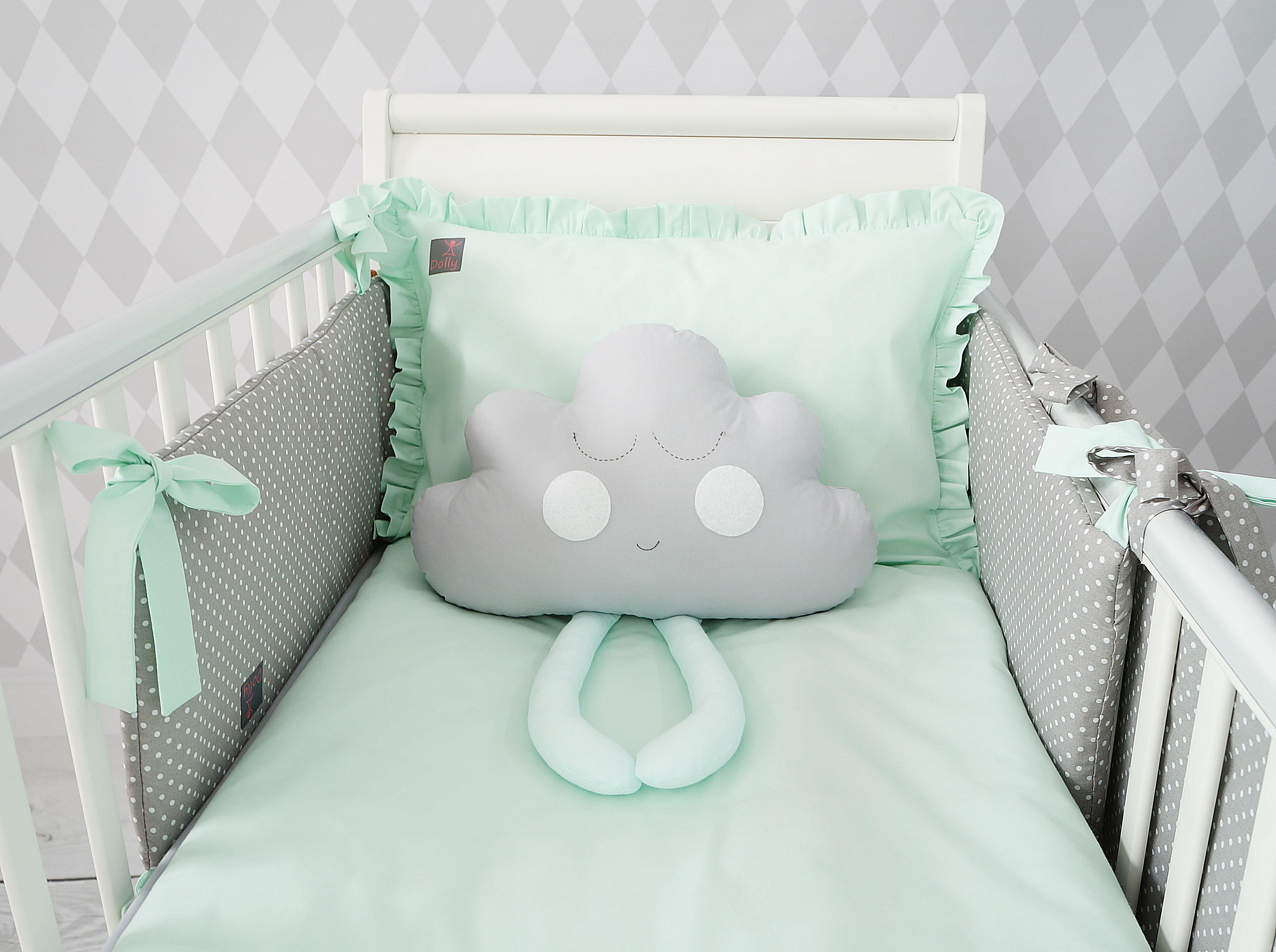 Dziecięca pościel do łóżeczka w kolorze miętowym z falbanką
