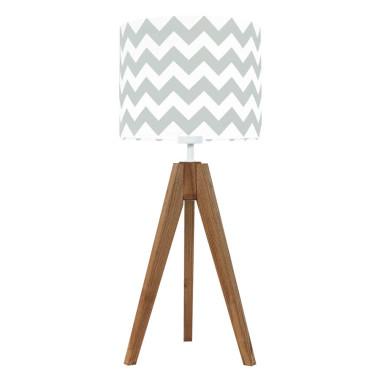 youngDECO lampa na stolik trójnóg dębowy chevron szary