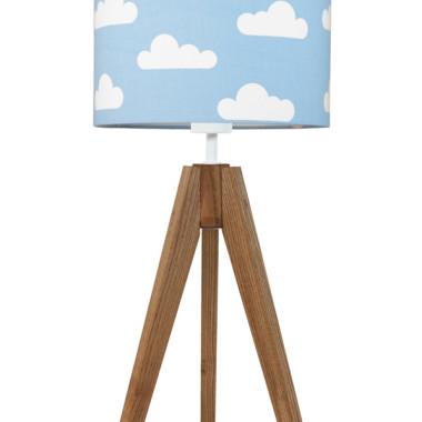 youngDECO lampa na stolik trójnóg dębowy chmurki na błękitnym