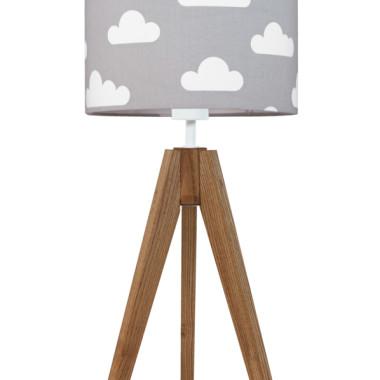 youngDECO lampa na stolik trójnóg dębowy chmurki na szarym