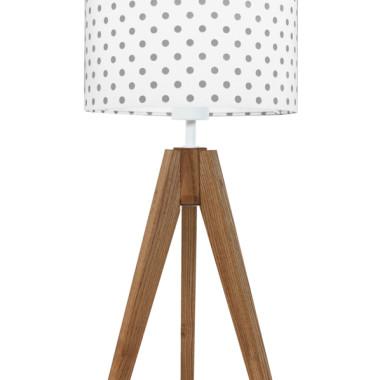 youngDECO lampa na stolik trójnóg dębowy grochy szare