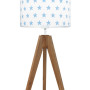 youngDECO lampa na stolik trójnóg dębowy gwiazdki błękitne