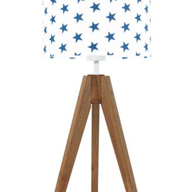 youngDECO lampa na stolik trójnóg dębowy gwiazdki granatowe