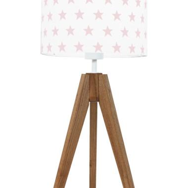 youngDECO lampa na stolik trójnóg dębowy gwiazdki różowe