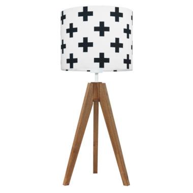 youngDECO lampa na stolik trójnóg dębowy krzyżyki czarne