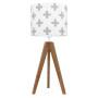 youngDECO lampa na stolik trójnóg dębowy krzyżyki szare