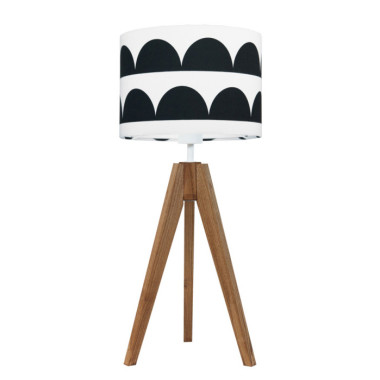 youngDECO lampa na stolik trójnóg dębowy półksiężyce czarne