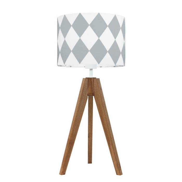 youngDECO lampa na stolik trójnóg dębowy romby szare