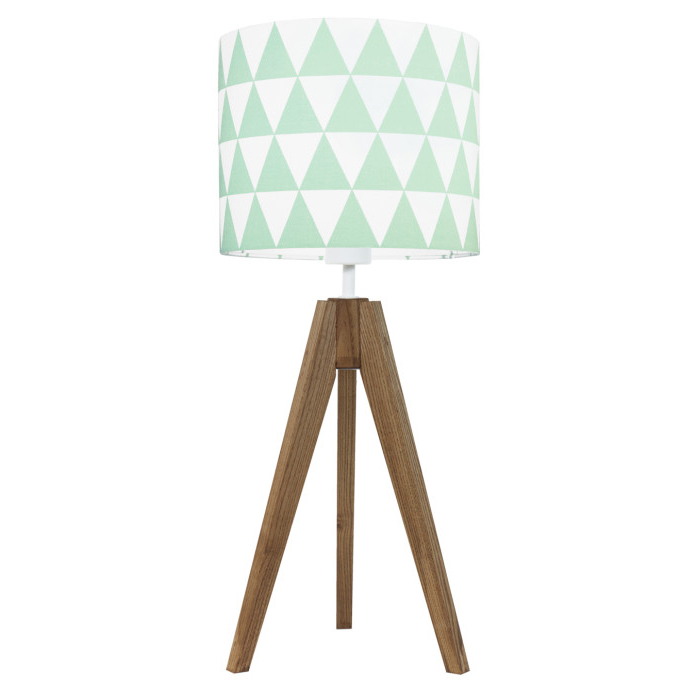 youngDECO lampa na stolik trójnóg dębowy trójkąty miętowe