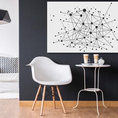 Strumień świadomości - nowoczesny obraz na płótnie.czarno-biały