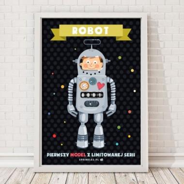Plakat na ścianę do pokoju dziecka Robot/czarny