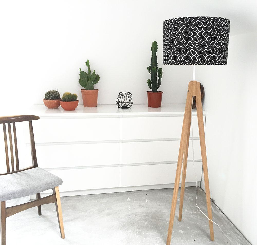 Lampa podłogowa trójnóg koniczyna marokańska mała czarna