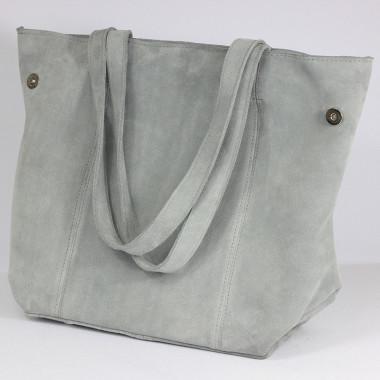 Shopper Mudiwa szara- modna i elegancka, skórzany Shopper – skóra welurowa