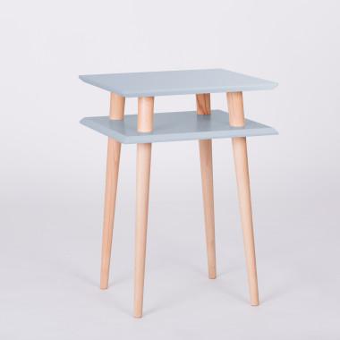 Nowoczesny, kwadratowy stolik kawowy do salonu lub pokoju dziecka. jasnoszary