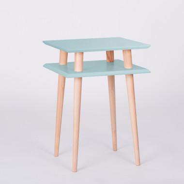 Nowoczesny, kwadratowy stolik kawowy do salonu lub pokoju dziecka. jasny turkus