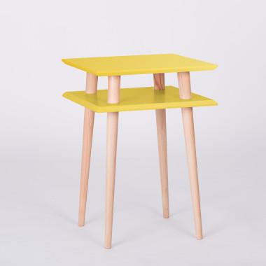 Nowoczesny, kwadratowy stolik kawowy do salonu lub pokoju dziecka. żółty